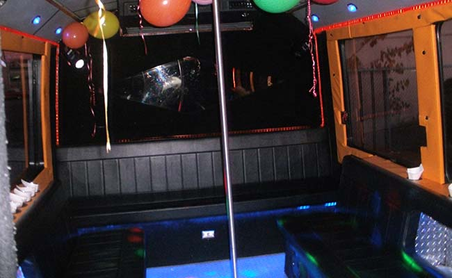 Bus interior with balloons
